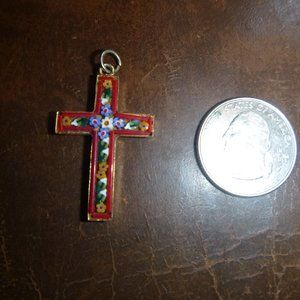 Vintage Cross Crucifix Pendant Made in Italy